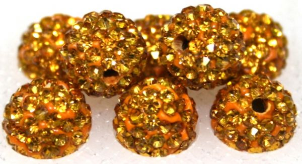 8mm Golden Brown 70 Stone - Pave Crystal Beads- 2 Hole PCB08-70-017